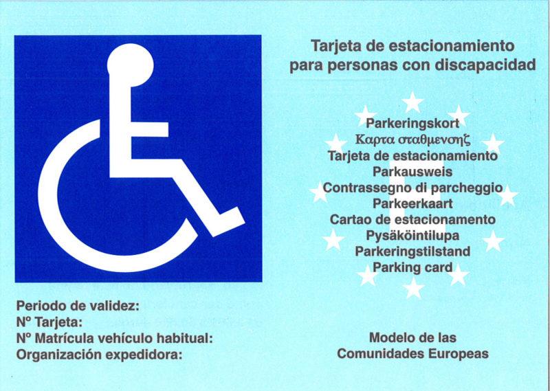 Tarjeta de estacionamiento para discapacitados