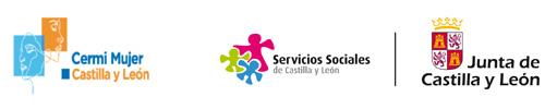 Logtipos de la Junta de Castilla y León con sus Servicios Sociales y el de Cermi Mujer