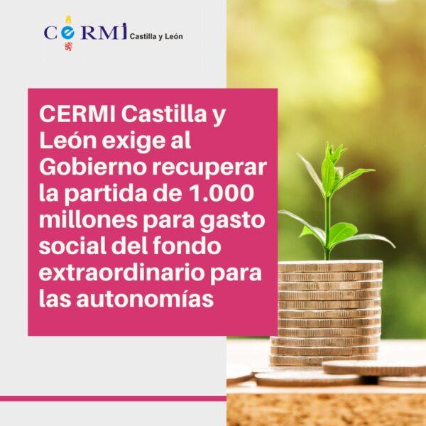 CERMI CyL exige al Gobierno recuperar la partida de 1.000 millones para gasto social del fondo extraordinario para las autonomías